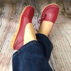 Shoes - Leather Red Moccasins Socofy Style Shoes